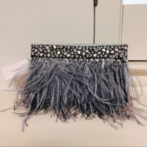 Evening Feather Clutch with Rhinestone